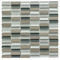 Linear Grey Glass & Stone Mosaic Tile, (L)300mm (W)300mm ...