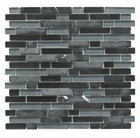 Linear Black Glass & Stone Mosaic Tile, (L)300mm (W)308mm ...