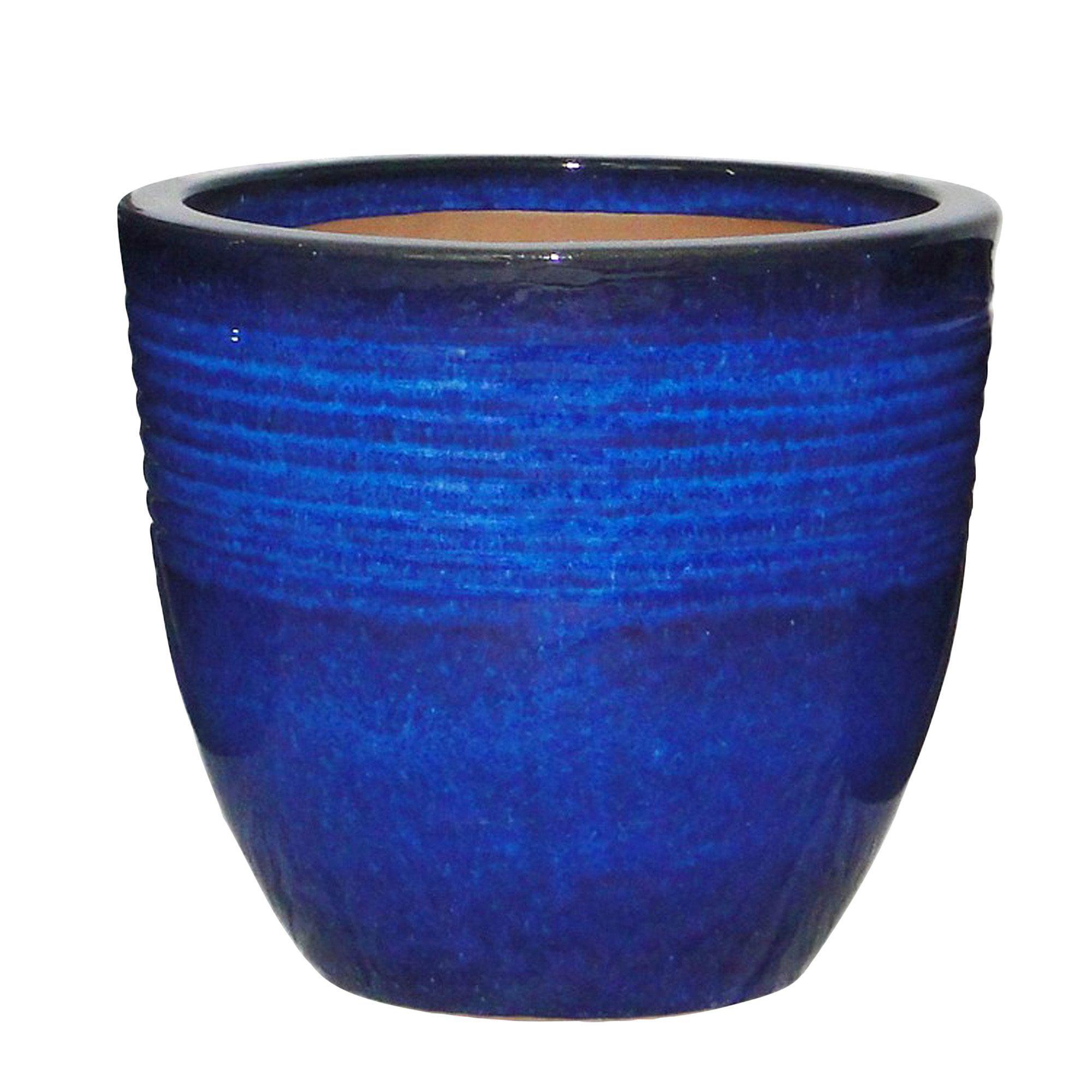 kitchen cabinets clearance martha stewart seacourt round glazed blue pot (h)310mm (dia)330mm ...
