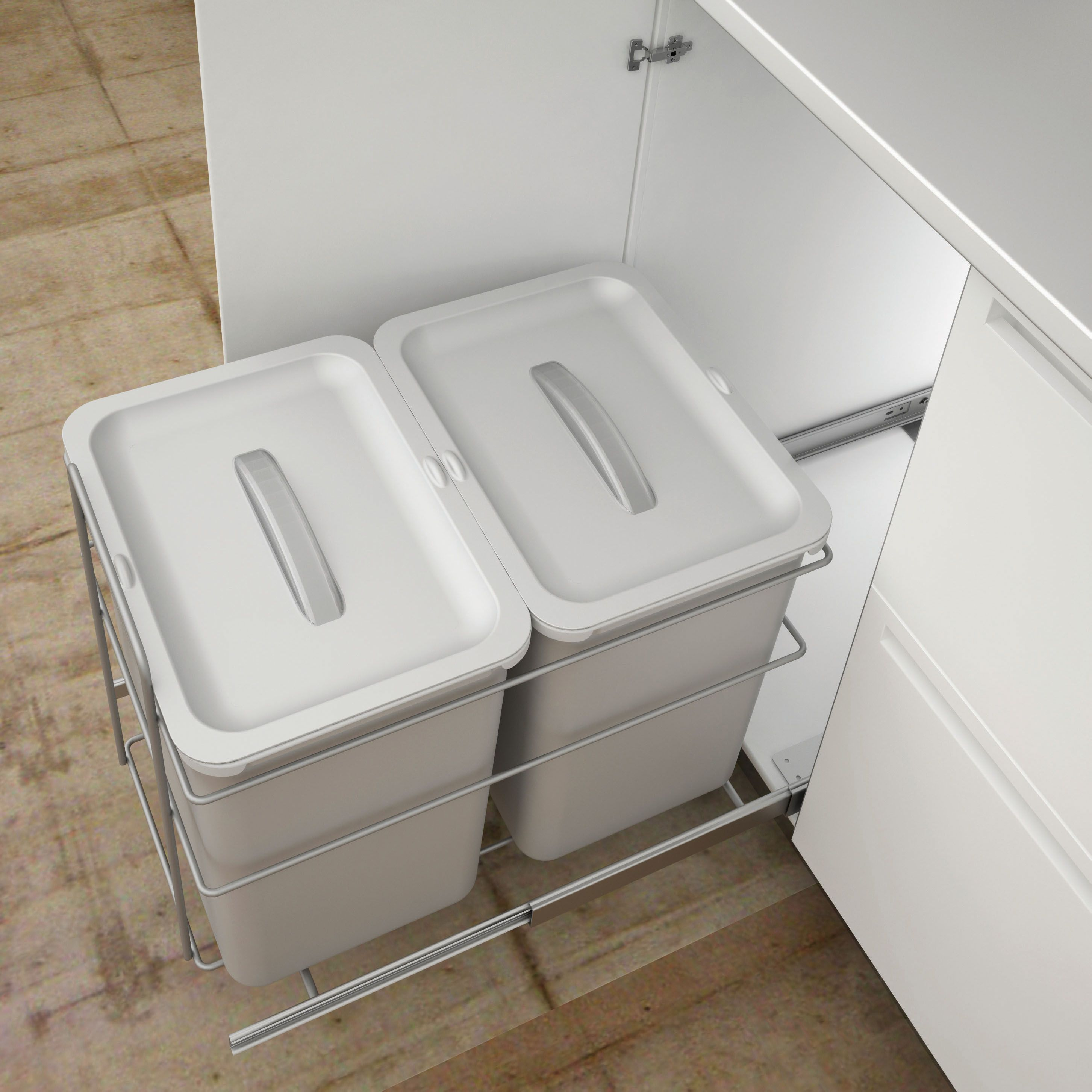 IT Kitchens Grey Metal Rectangular Double Pull Out Kitchen