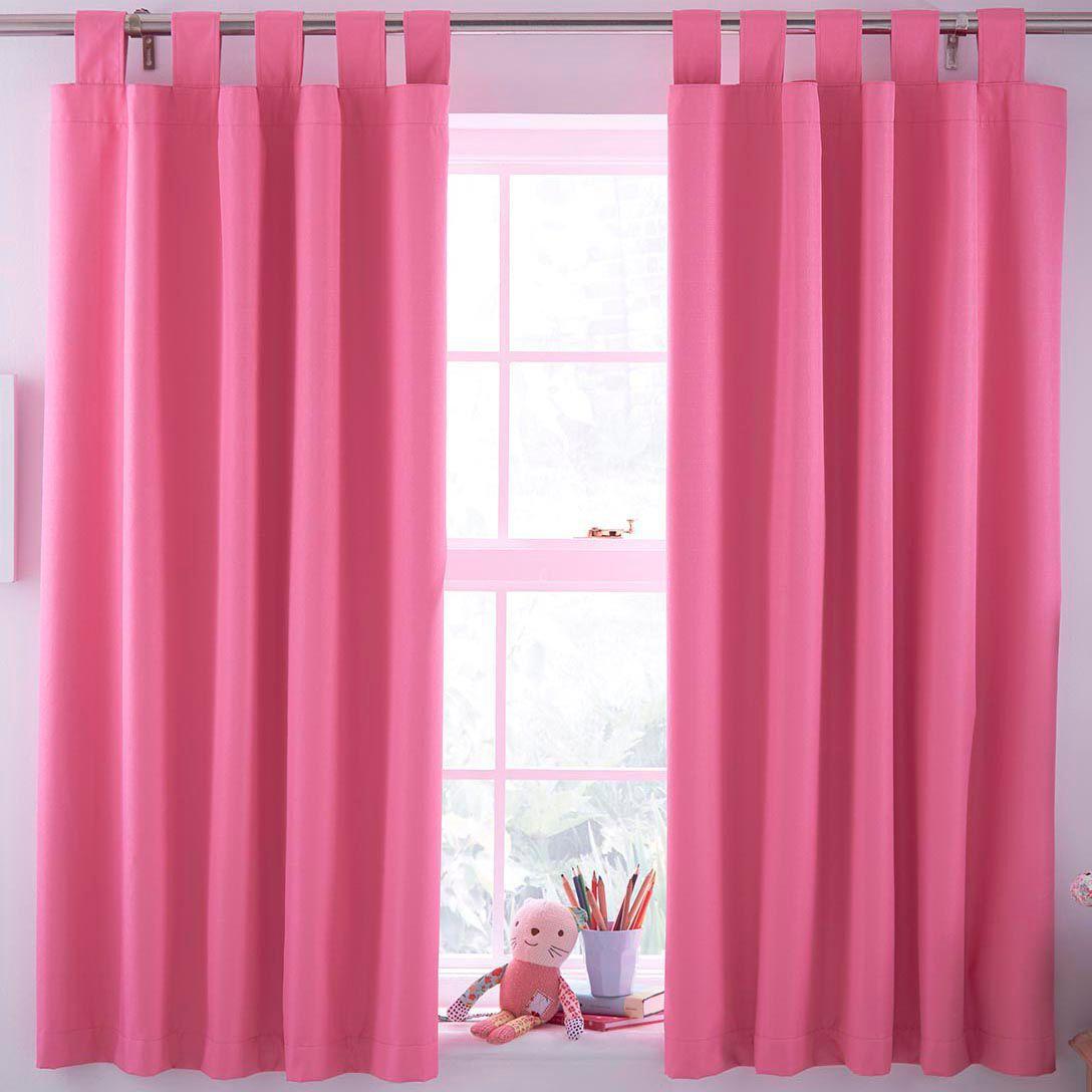 Pink Plain Tab Top Lined Children's Blackout Curtains W 168cm L