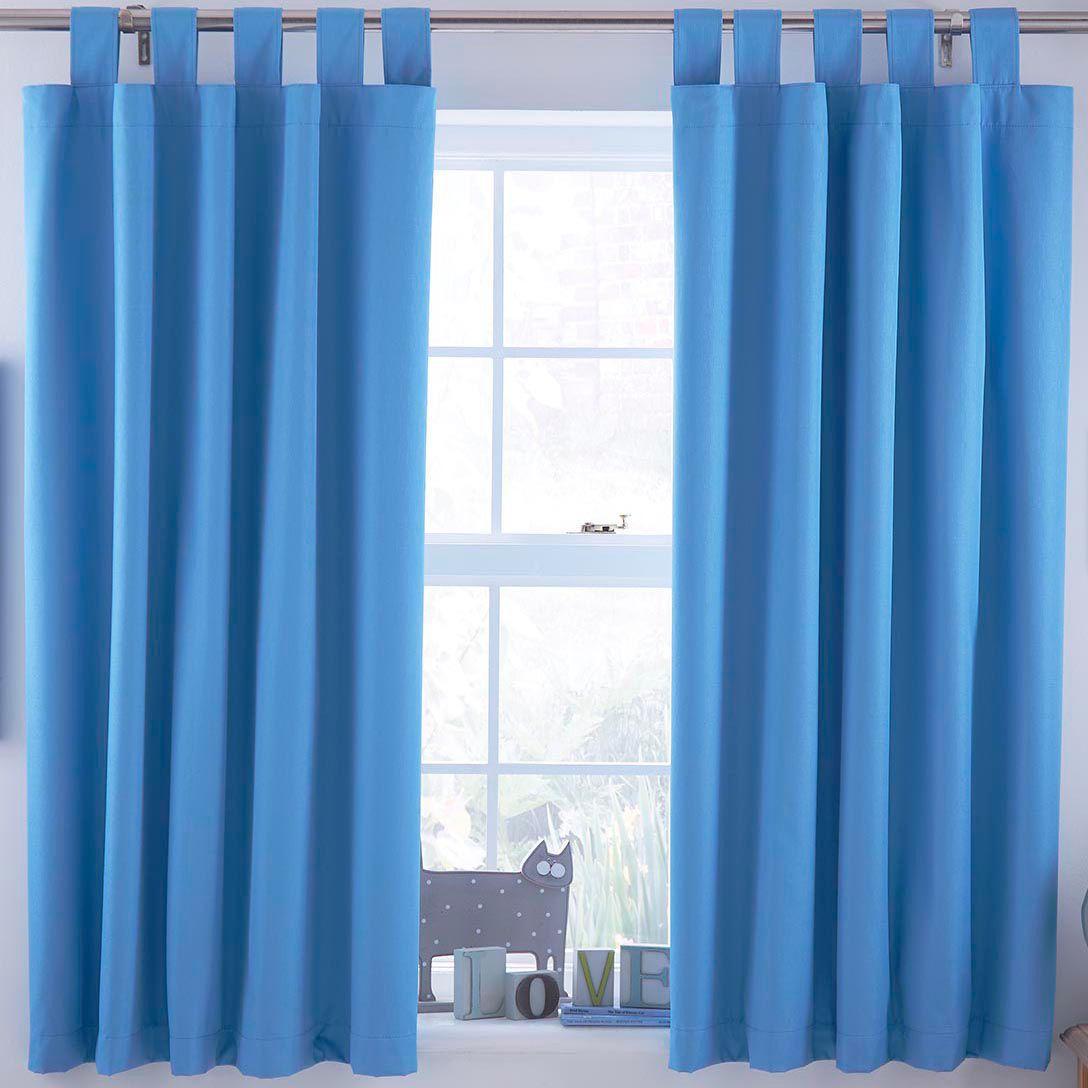 Ardella Blue Plain Tab Top Lined Children's Blackout Curtains W