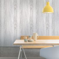 Ideco Home Grey Wood Panel Wallpaper | Departments | DIY ...