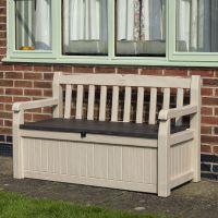 Wood Effect Plastic Garden Bench & Storage Box ...