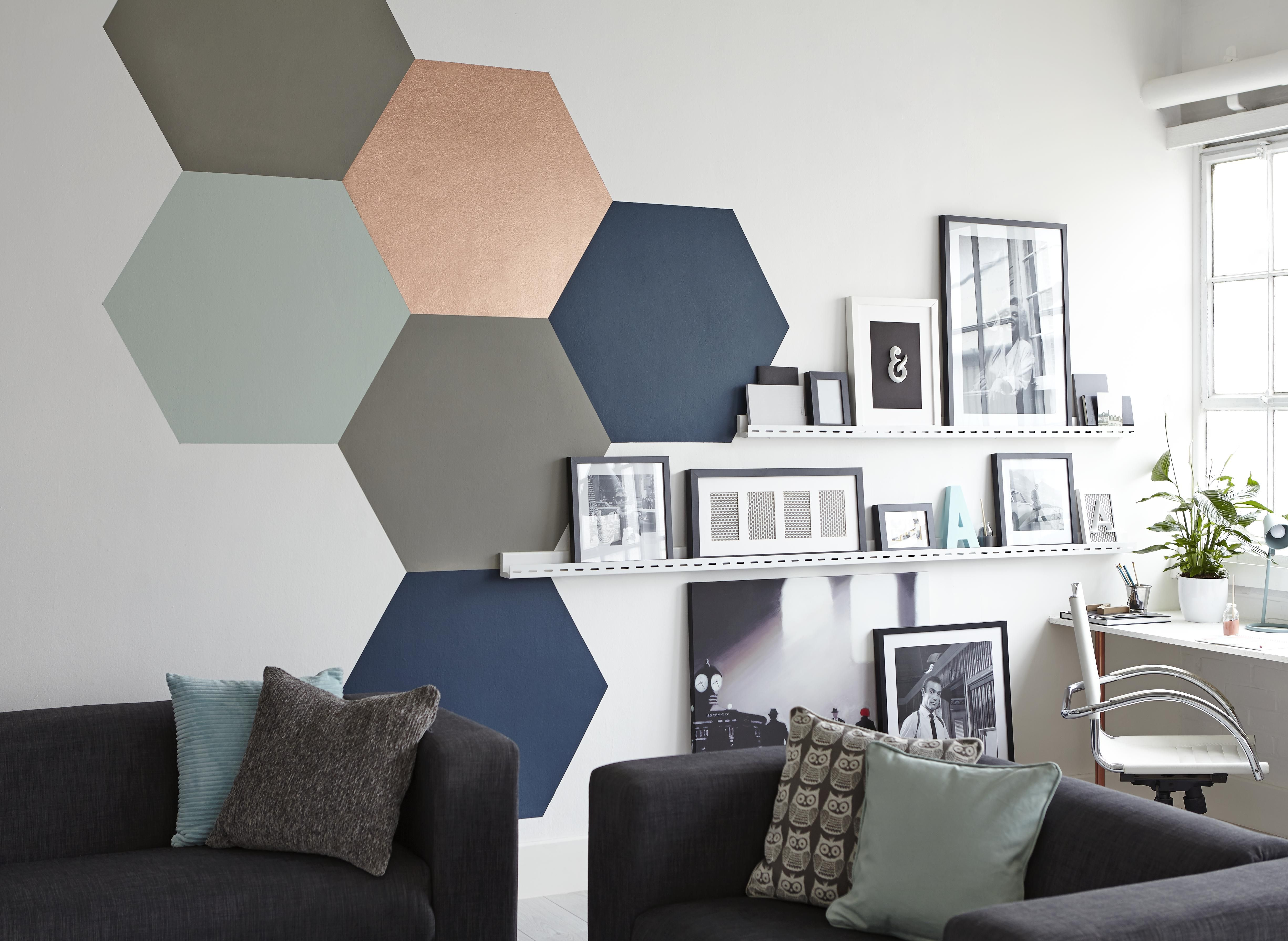 living room wall paint finish designs with chocolate brown sofa interior buying guide ideas advice diy at b q hexagons of different colour and paints on a in