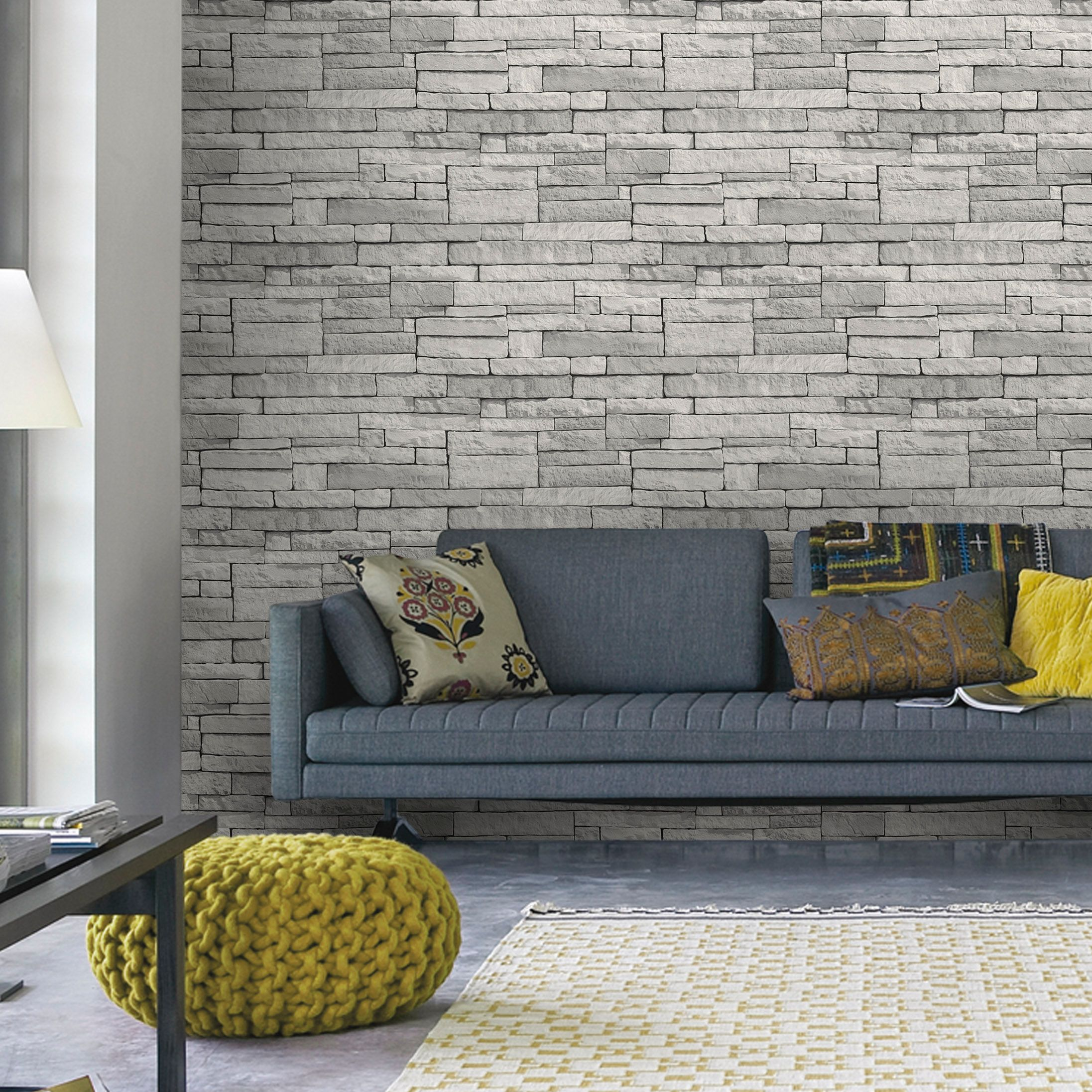 wallpaper living room wall light grey with brown couch decorating brick tile stone