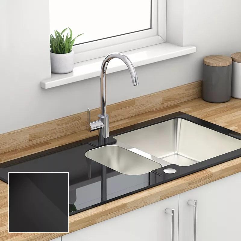 gray kitchen sink macys aid sinks toughened glass