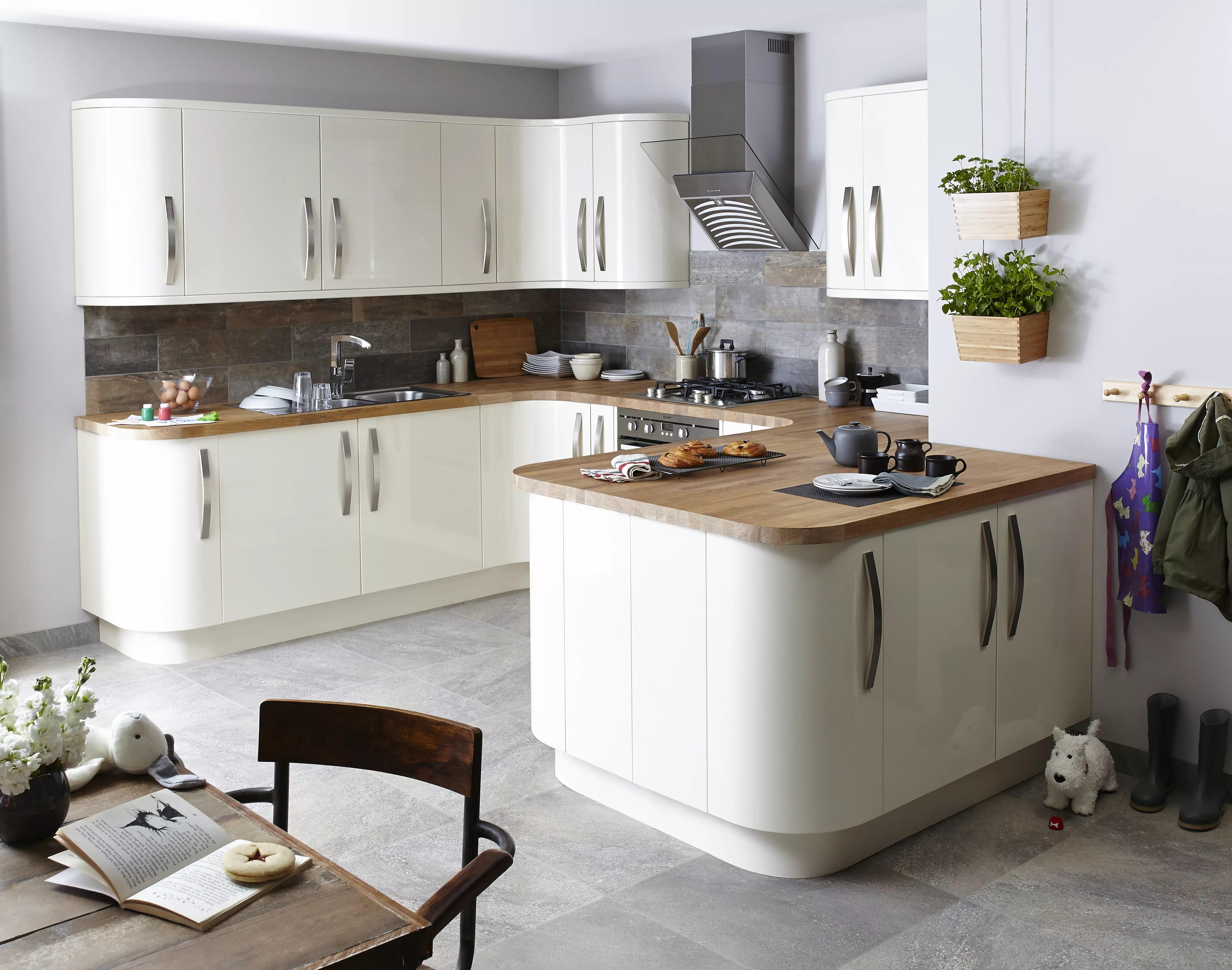 b&q kitchens lights under kitchen cabinets it santini gloss cream slab fitted diy at b q