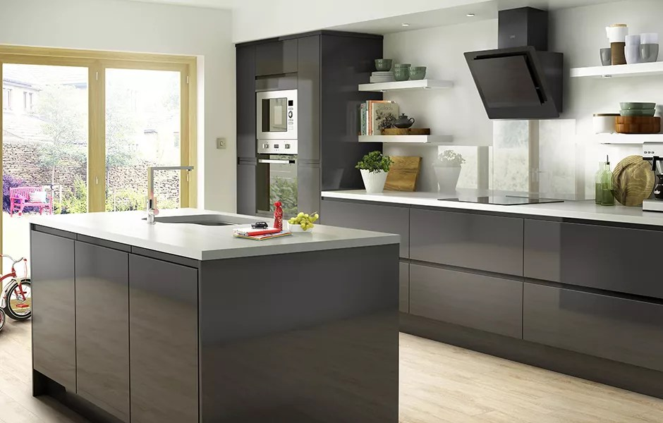 kitchen layout ideas cool cabinets contemporary design advice diy at b q it marletti white gloss with integrated handle