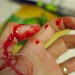 DIY fake blood on hand