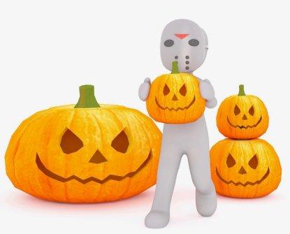 Jason Voorhees with Halloween Jack-o-lantern