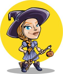Fun Halloween witch with broom and jack-o-lantern