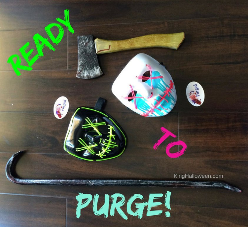 Purge movie Halloween stuff we bought