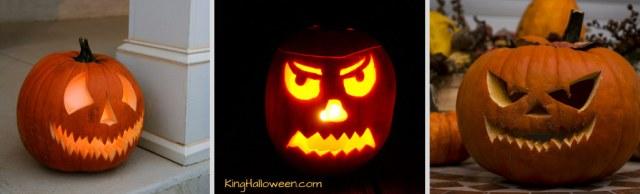 jack o lantern faces ideas three scary pumpkins
