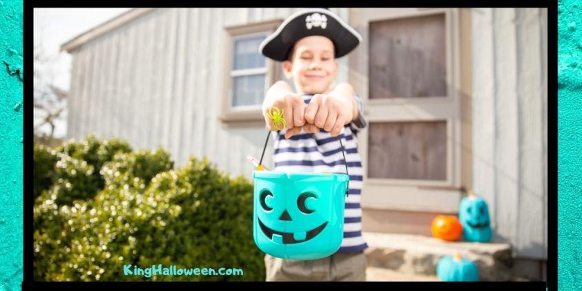 Teal Pumpkin is fun. Child with non food treats in teal bucket.