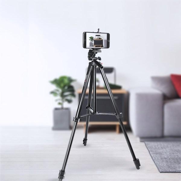 KINGJOY 53″ Camera Phone Tripod Stand for Canon Nikon DSLR with Carry Bag