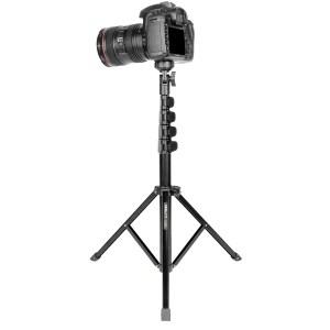 1.5m Photography Light Stand Black Aluminium Live Streaming Phone Camera Tripod for Smartphone DSLR Camera