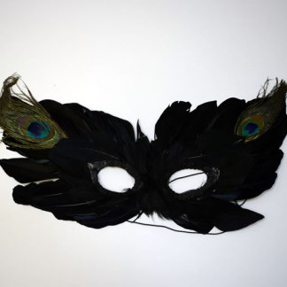 Black Feathered Mardi Gras Mask