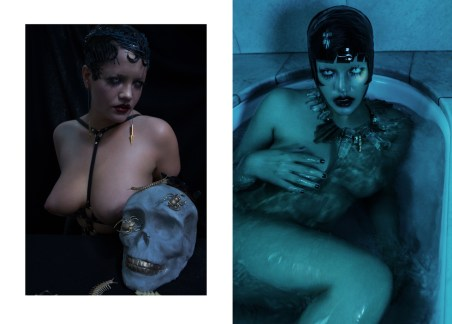 (left) Earings - MARIE BELTRAMI | Harness - ZANA BAYNE (right) Necklace - REGINA DABDAB