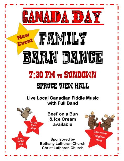 2015 Canada Day Family Dance poster