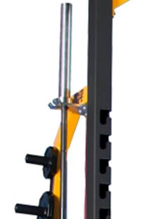 vertical barbell storage hook at top of rack