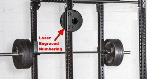laser engraved hole numbering on power rack uprights