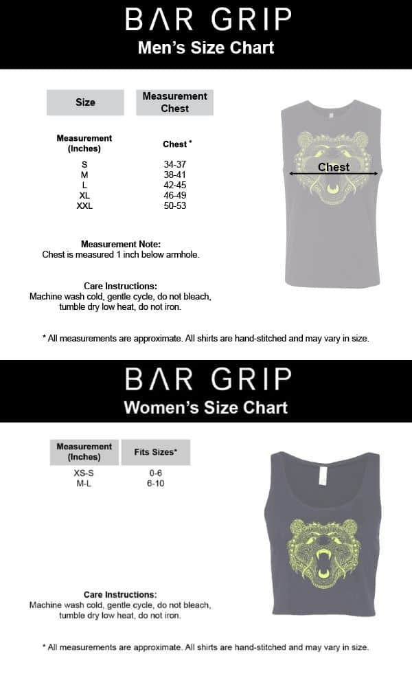 A7 Bar Grip Muscle Tee Sizing Chart - Men's & Women's