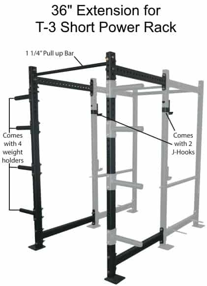 36 Inch Extension Kit For T-3 Short Power Rack