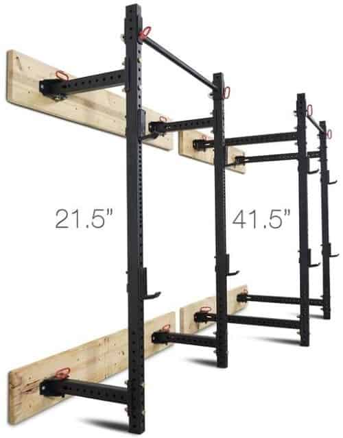 Titan Fold Back T-3 Power Rack Wall Mount - 21-5 Inch Depth vs 41-5 Inch Depth