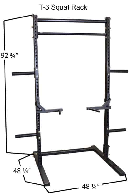 Titan T-3 Series Squat Rack - Dimensions