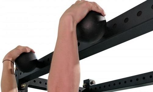 Hanging onto 5 Inch Pull Up Spheres For X-3 Power Rack - Grip Training Tool