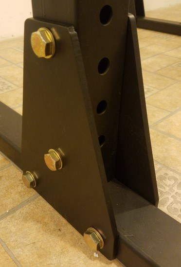 Gusset Plates Supporting Uprights on Base of X-3 Power Rack - Outside