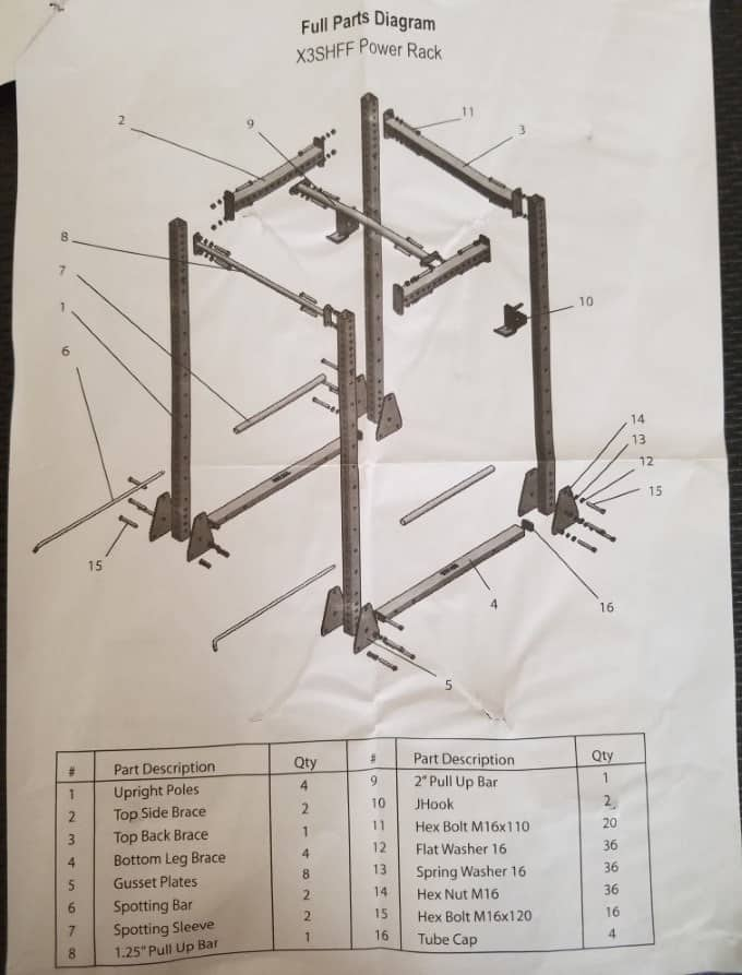 Titan X-3 Short Flat Foot Power Rack Instructions - Parts Diagram
