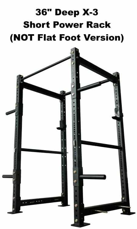 X-3 Short Power Rack - 36 Inch Depth - Side Angle View