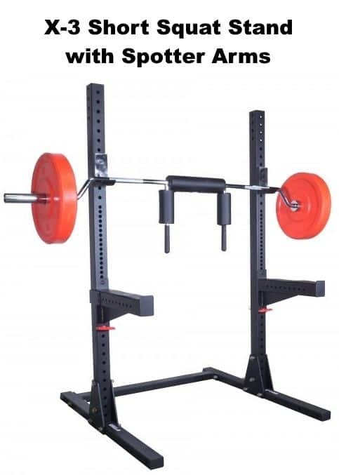 X-3 Short Squat Stand with Spotter Arms - with Safety Squat Bar