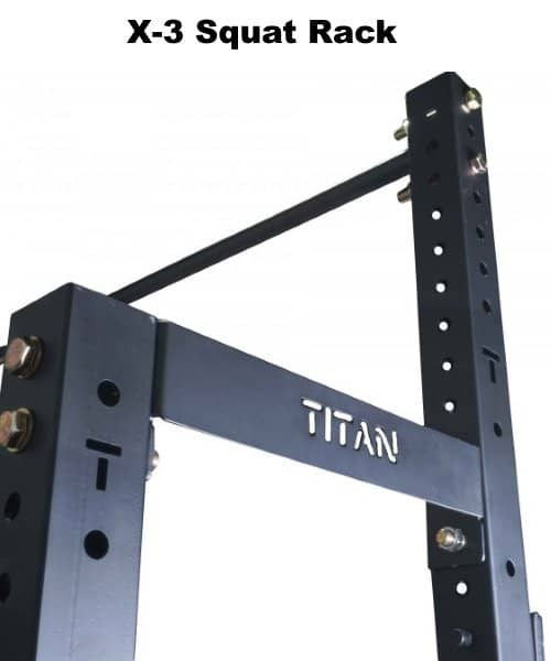 X-3 Squat Rack with Pull Up Bar and Plate Holders - Closeup of Upper Outer Area