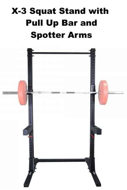 X-3 Squat Stand with Pull Up Bar and Spotter Arms - Front View with Barbell