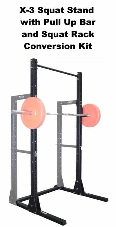 X-3 Squat Stand with Pull Up Bar - with Barbell and Squat Rack Conversion Kit