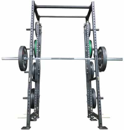 10-Inch Extension Kit for X-2 Power Rack with Barbell and Plates on Weight Holders - Front View