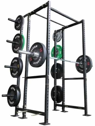 10-Inch Extension Kit for X-2 Power Rack with Barbell and Plates on Weight Holders - Side Angle View
