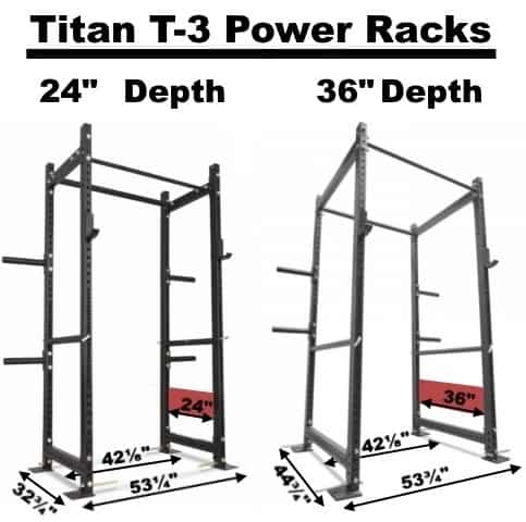 Titan T-3 Power Racks - 24 Inch Depth and 36 Inch Depth