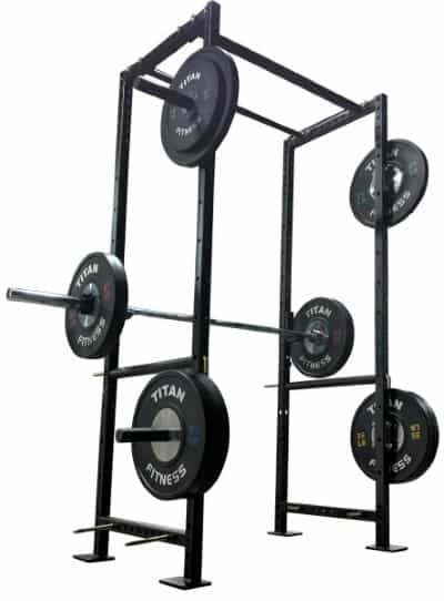 Titan X-2 Power Rack with Barbell and Platse on Weight Holders - Side Angle View