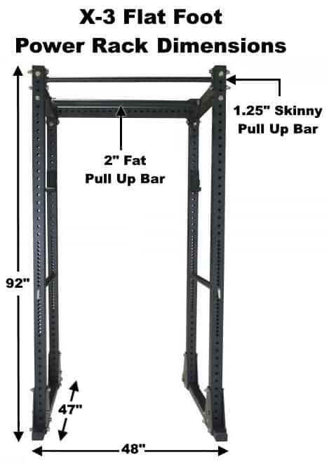 X-3 Flat Foot Power Rack Dimensions