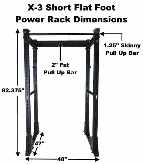 X-3 Short Flat Foot Power Rack Dimensions