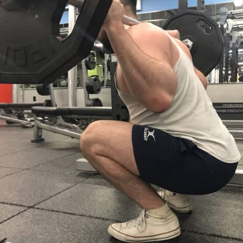 Squatting in Gilbert Rugby Shorts - Rear View - Bottom of Squat Rep