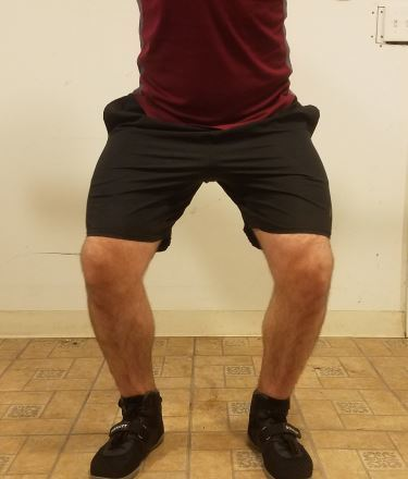 Squatting in A7 Center-stretch Shorts - Front View - Near Top of Squat Rep