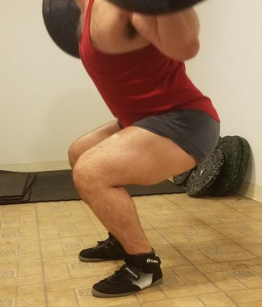 Squatting in Soffe Ranger Panty Shorts - Side View - Near Bottom of Squat Rep