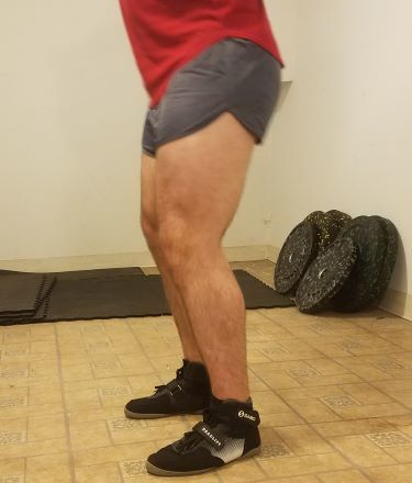 Squatting in Soffe Ranger Panty Shorts - Side View - Top of Squat Rep