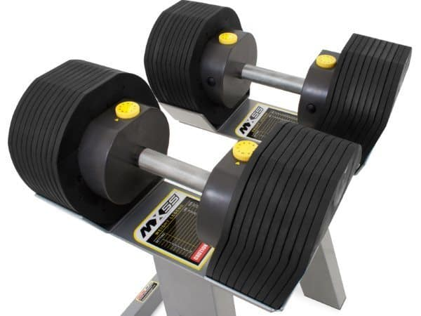 MX Select MX55 Adjustable Dumbbells on Stand