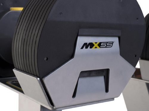 MX55 Interlocking Plates Lock Onto Each Other and to the Dumbbell Stand
